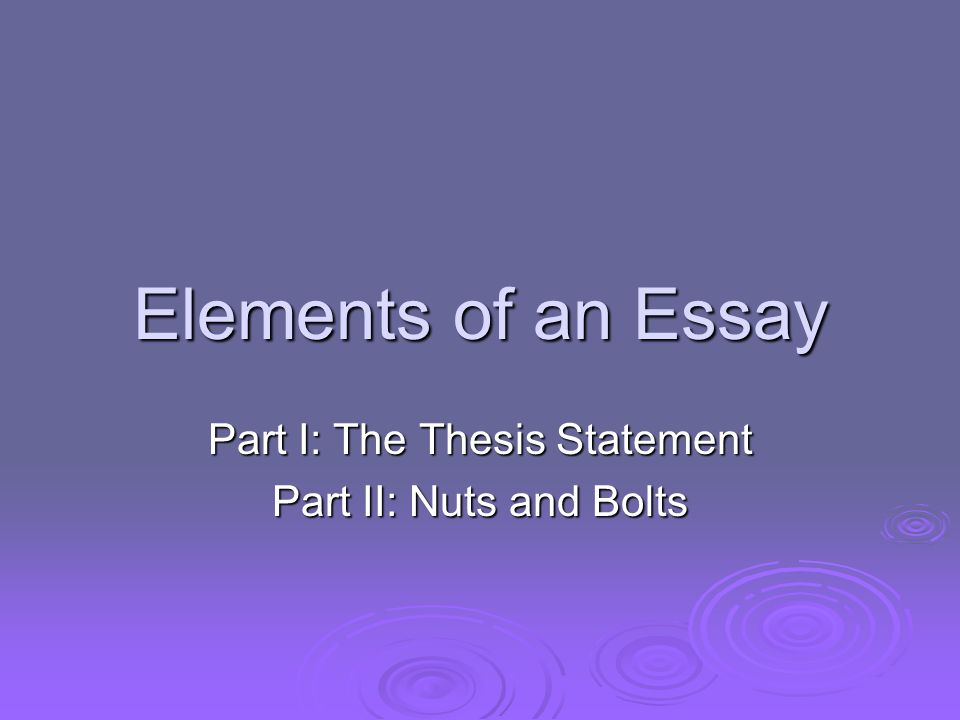 elements of a thesis presentation