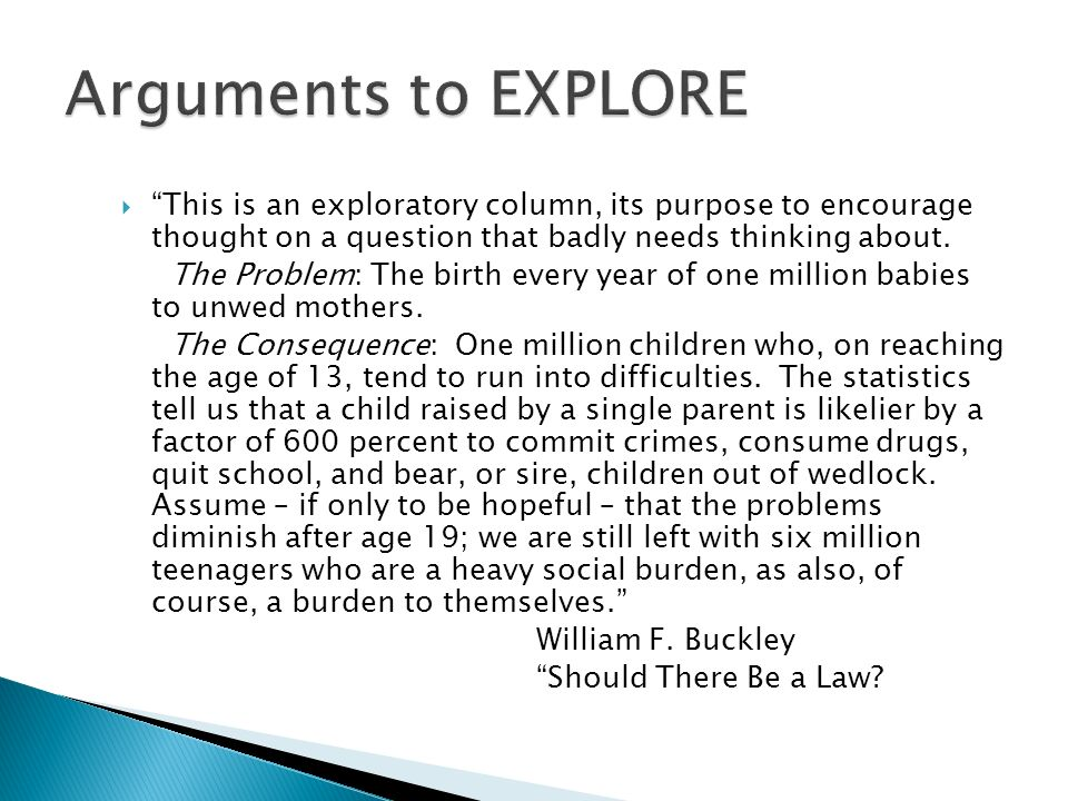 This is an exploratory column, its purpose to encourage thought on a question that badly needs thinking about. The Problem: The birth every year of on