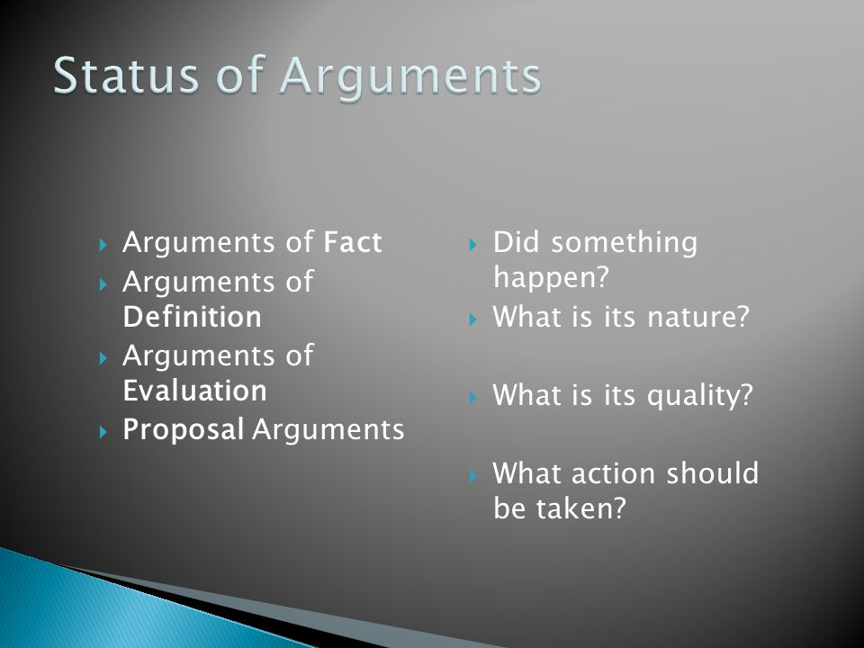 Arguments of Fact Arguments of Definition Arguments of Evaluation Proposal Arguments Did something happen? What is its nature? What is its quality? Wh