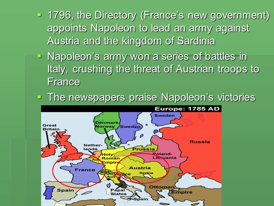 1796, the Directory (Frances new government) appoints Napoleon to lead an army against Austria and the kingdom of Sardinia 1796, the Directory (France