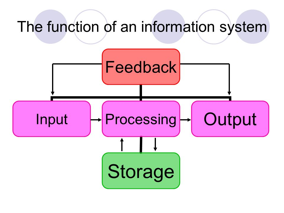 The function of an information system Feedback InputProcessing Storage Output