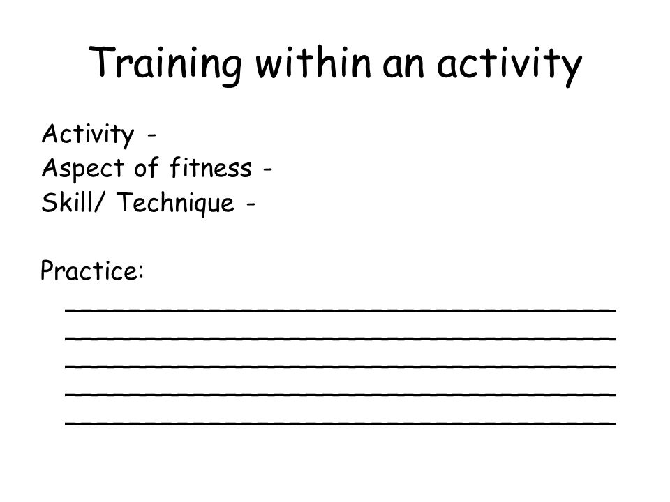 Training within an activity Activity - Aspect of fitness - Skill/ Technique - Practice: __________________________________ __________________________________ __________________________________ __________________________________ __________________________________