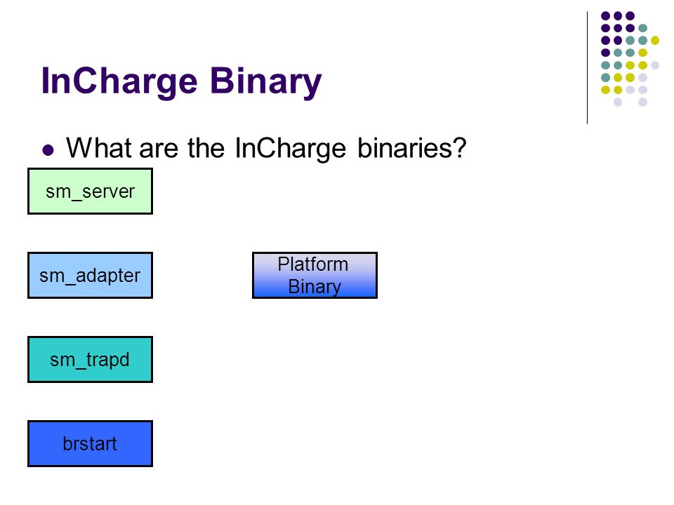 InCharge Binary What are the InCharge binaries? sm_server sm_adapter sm_trapd brstart Platform Binary