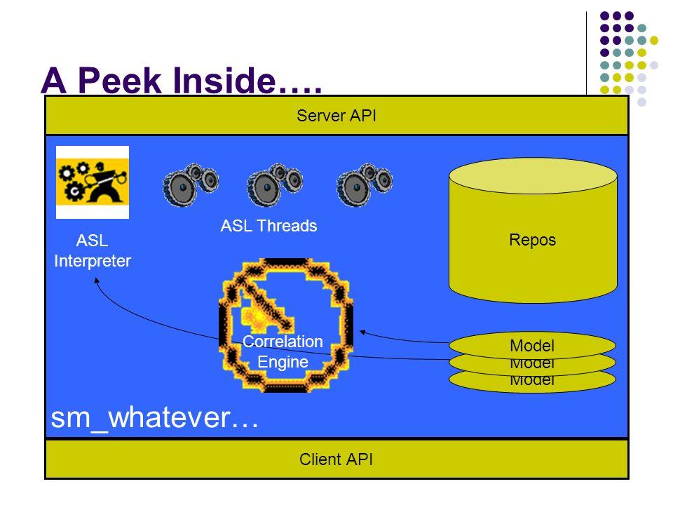 A Peek Inside…. Client API Server API Model Repos ASL Interpreter Correlation Engine ASL Threads sm_whatever…