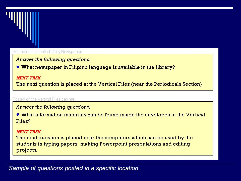 Sample of questions posted in a specific location.