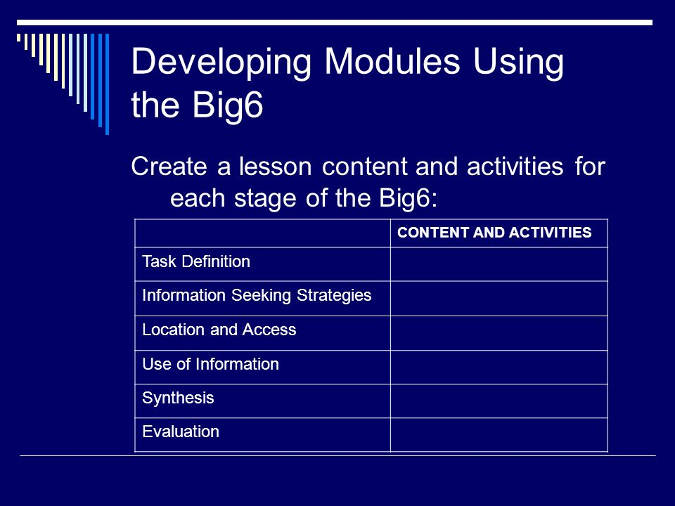 Developing Modules Using the Big6 Create a lesson content and activities for each stage of the Big6: CONTENT AND ACTIVITIES Task Definition Informatio