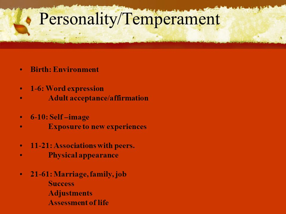 Personality/Temperament Birth: Environment 1-6: Word expression Adult acceptance/affirmation 6-10: Self –image Exposure to new experiences 11-21: Associations with peers.