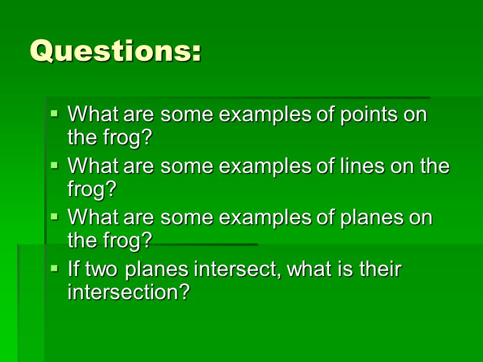 Questions: What are some examples of points on the frog? What are some examples of points on the frog? What are some examples of lines on the frog? Wh