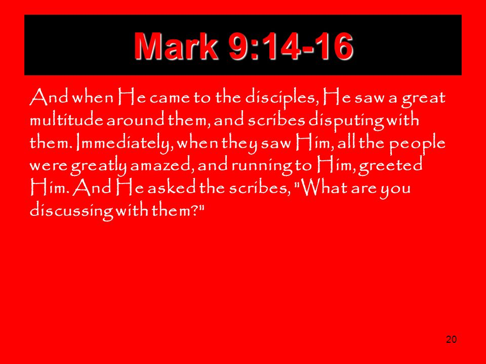 20 Mark 9:14-16 And when He came to the disciples, He saw a great multitude around them, and scribes disputing with them. Immediately, when they saw H