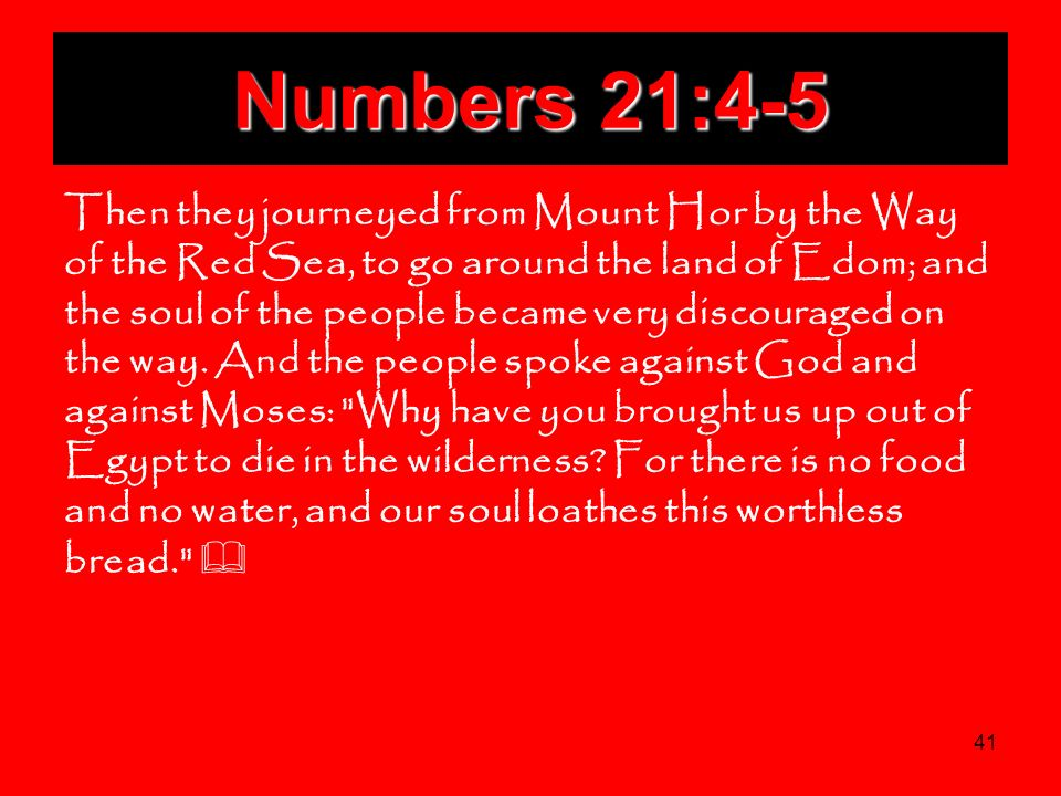 41 Numbers 21:4-5 Then they journeyed from Mount Hor by the Way of the Red Sea, to go around the land of Edom; and the soul of the people became very