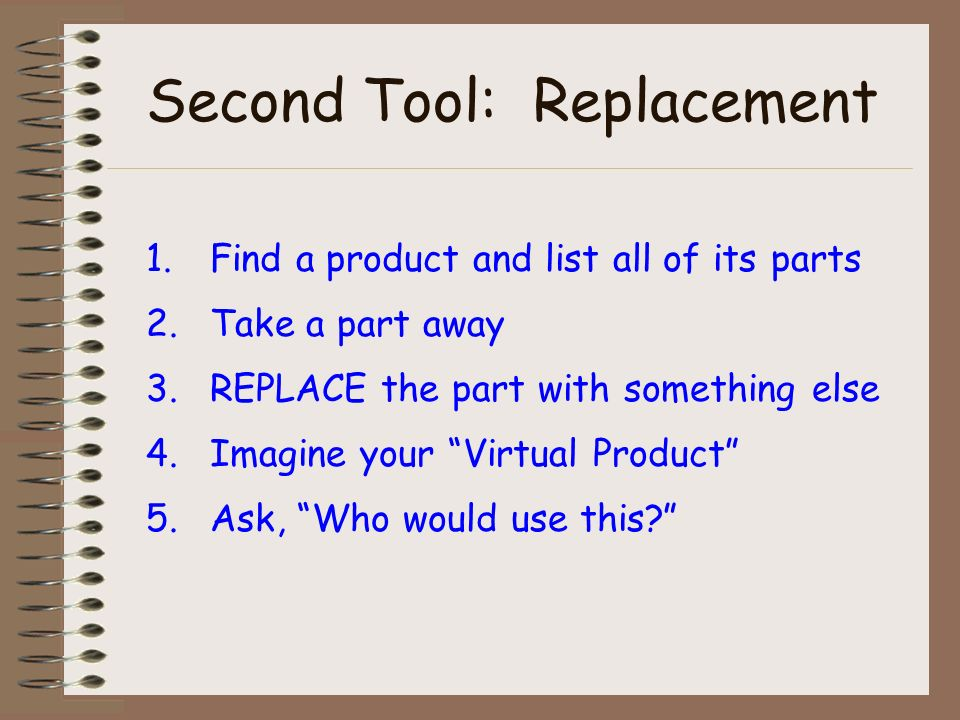Second Tool: Replacement 1.Find a product and list all of its parts 2.Take a part away 3.REPLACE the part with something else 4.Imagine your Virtual Product 5.Ask, Who would use this