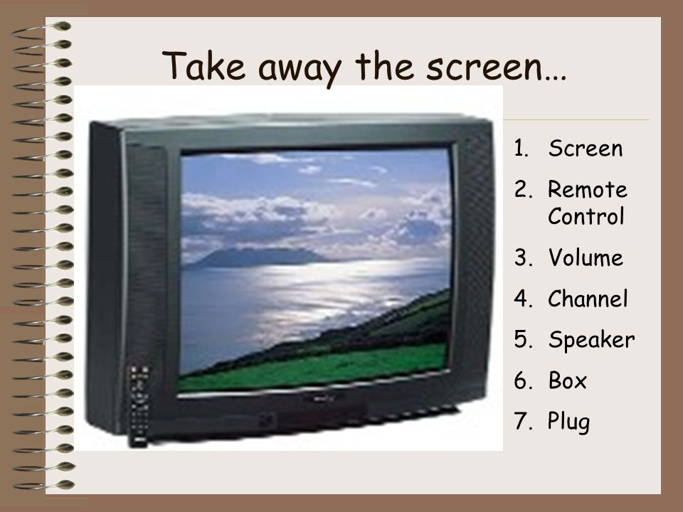1.Screen 2.Remote Control 3.Volume 4.Channel 5.Speaker 6.Box 7.Plug Take away the screen…