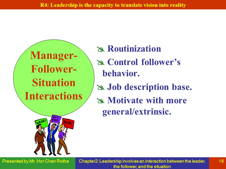 Presented by Mr. Hor Chan RothaChapter2: Leadership involves an interaction between the leader, the follower, and the situation 18 Manager- Follower-