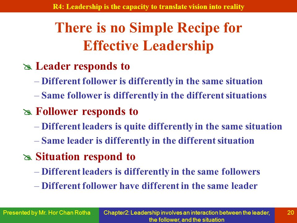 Presented by Mr. Hor Chan RothaChapter2: Leadership involves an interaction between the leader, the follower, and the situation 20 There is no Simple