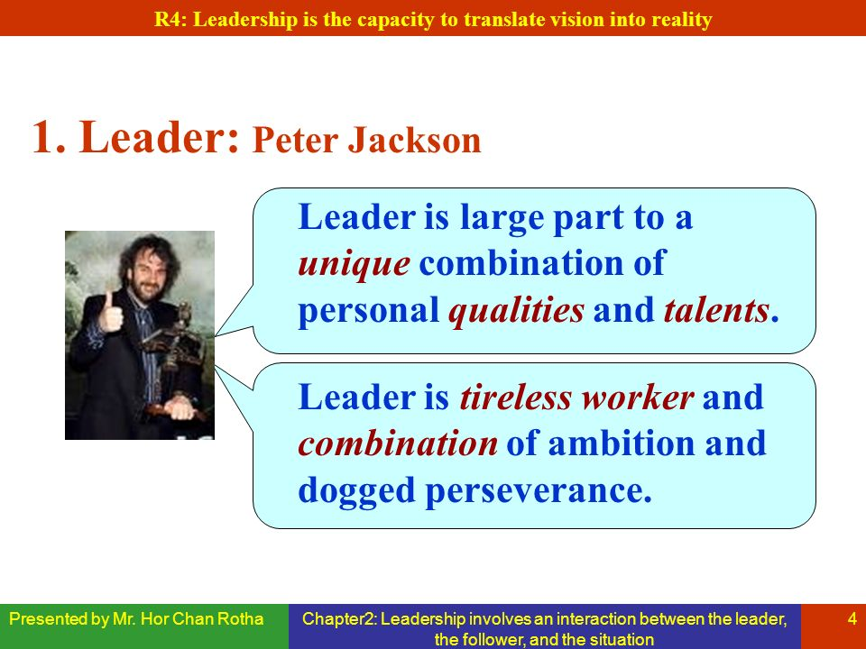 Presented by Mr. Hor Chan RothaChapter2: Leadership involves an interaction between the leader, the follower, and the situation 4 1. Leader: Peter Jac