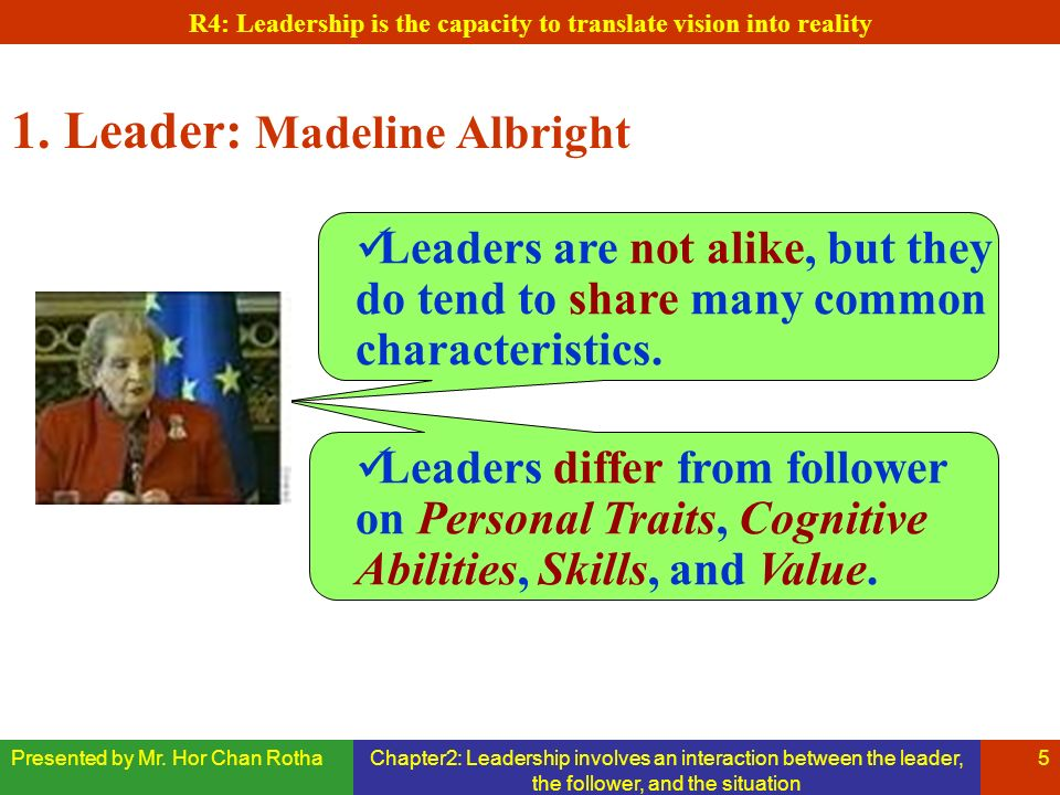 Presented by Mr. Hor Chan RothaChapter2: Leadership involves an interaction between the leader, the follower, and the situation 5 1. Leader: Madeline