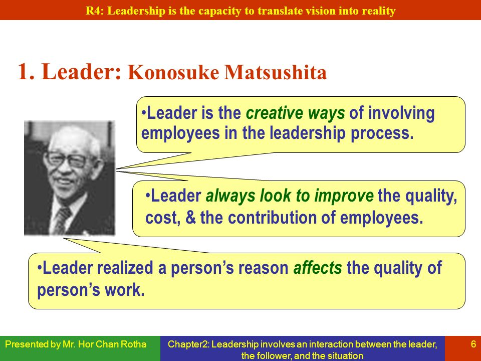 Presented by Mr. Hor Chan RothaChapter2: Leadership involves an interaction between the leader, the follower, and the situation 6 1. Leader: Konosuke
