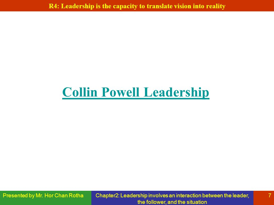 Presented by Mr. Hor Chan RothaChapter2: Leadership involves an interaction between the leader, the follower, and the situation 7 R4: Leadership is th