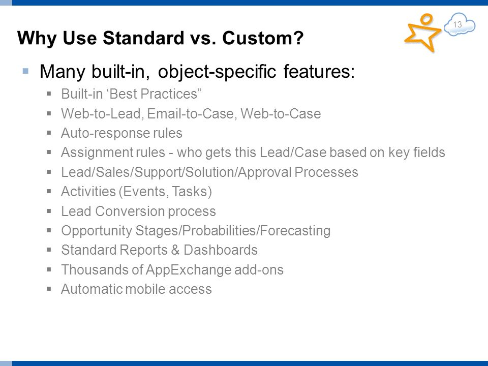 Why Use Standard vs. Custom.