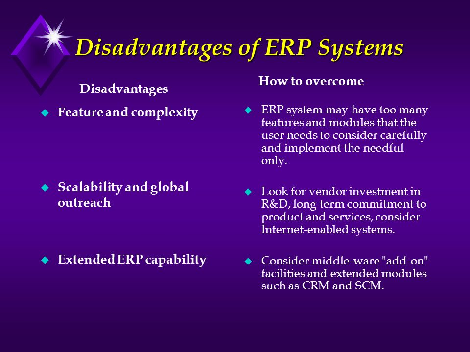 Disadvantages of ERP Systems u Feature and complexity u Scalability and global outreach u Extended ERP capability u ERP system may have too many featu