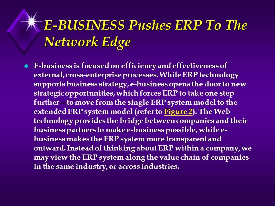 E-BUSINESS Pushes ERP To The Network Edge u E-business is focused on efficiency and effectiveness of external, cross-enterprise processes. While ERP t