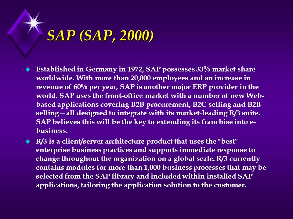 SAP (SAP, 2000) u Established in Germany in 1972, SAP possesses 33% market share worldwide. With more than 20,000 employees and an increase in revenue