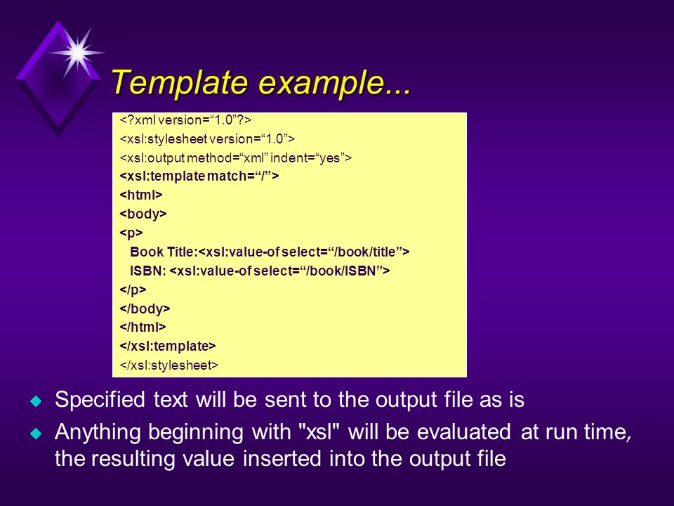 Book Title: ISBN: Template example... Specified text will be sent to the output file as is Anything beginning with
