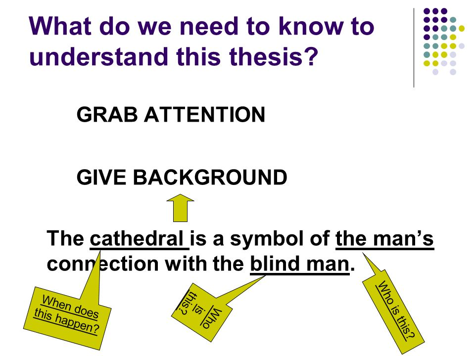 What do we need to know to understand this thesis? GRAB ATTENTION GIVE BACKGROUND The cathedral is a symbol of the mans connection with the blind man.