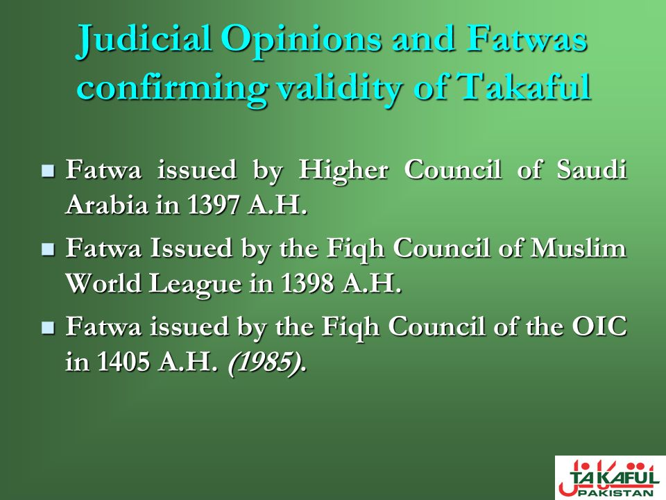 Conclusion Takaful defined.Takaful defined. Comparison with conventional insurance.