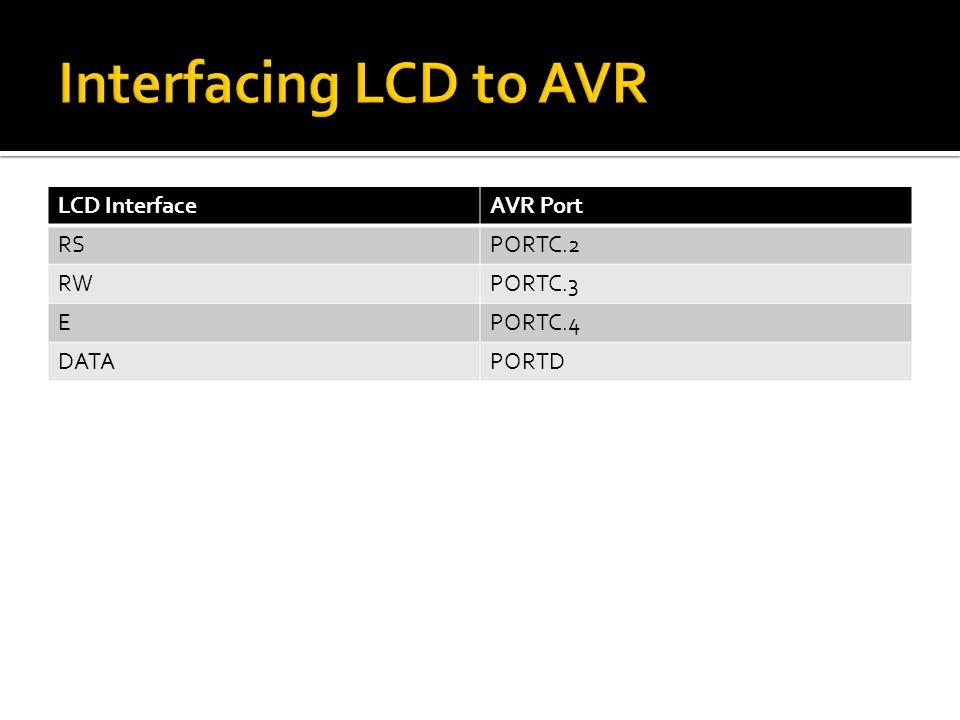 LCD InterfaceAVR Port RSPORTC.2 RWPORTC.3 EPORTC.4 DATAPORTD