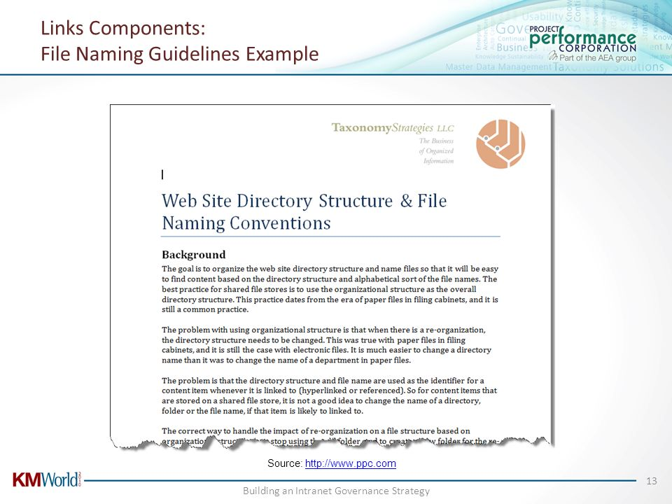 Links Components: File Naming Guidelines Example Source: http://www.ppc.comhttp://www.ppc.com Building an Intranet Governance Strategy 13