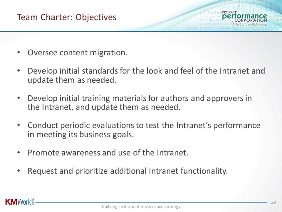 Team Charter: Objectives Oversee content migration. Develop initial standards for the look and feel of the Intranet and update them as needed. Develop