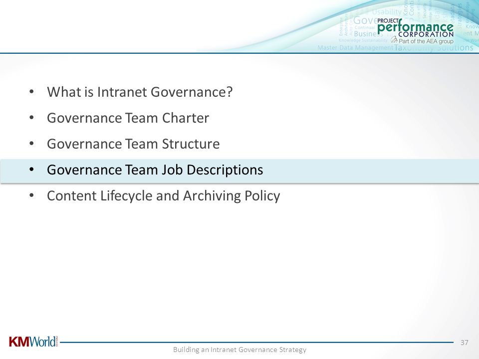 What is Intranet Governance? Governance Team Charter Governance Team Structure Governance Team Job Descriptions Content Lifecycle and Archiving Policy