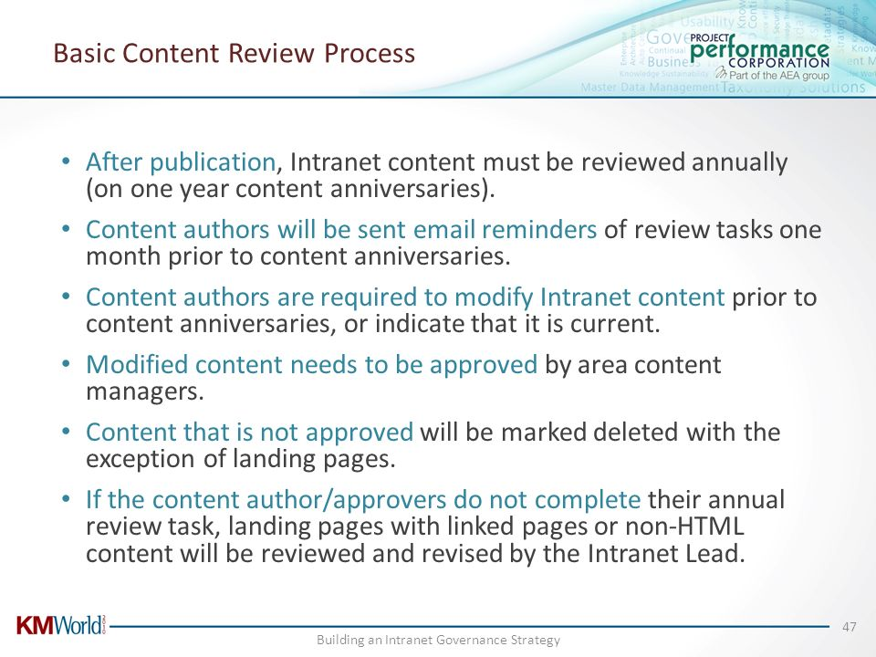 Basic Content Review Process After publication, Intranet content must be reviewed annually (on one year content anniversaries). Content authors will b