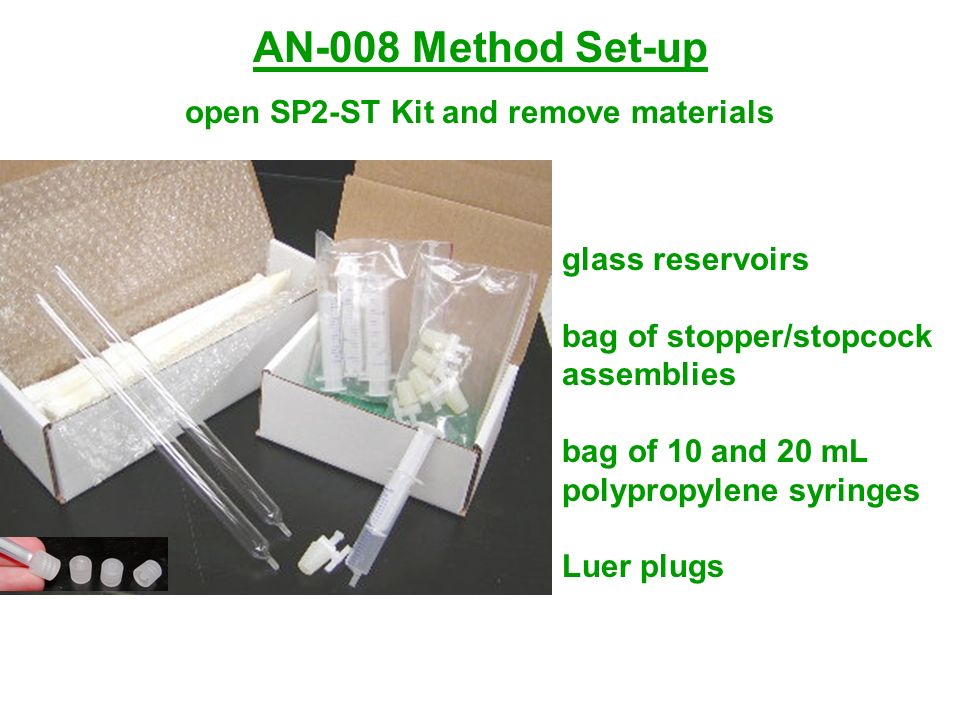 AN-008 Method Set-up open SP2-ST Kit and remove materials glass reservoirs bag of stopper/stopcock assemblies bag of 10 and 20 mL polypropylene syring