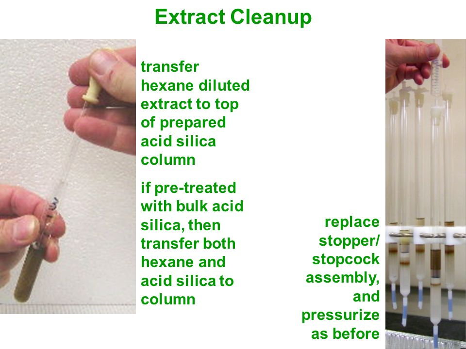Extract Cleanup transfer hexane diluted extract to top of prepared acid silica column if pre-treated with bulk acid silica, then transfer both hexane