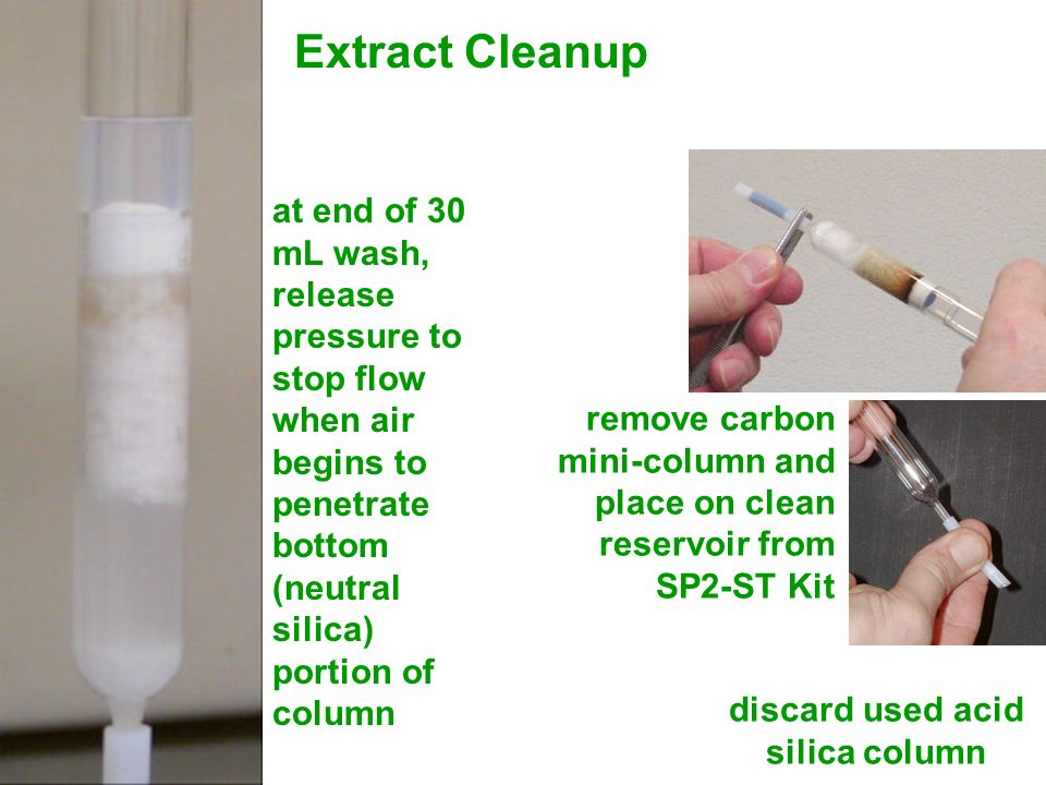 at end of 30 mL wash, release pressure to stop flow when air begins to penetrate bottom (neutral silica) portion of column remove carbon mini-column a