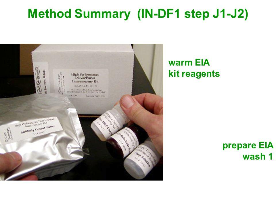 Method Summary (IN-DF1 step J1-J2) warm EIA kit reagents prepare EIA wash 1
