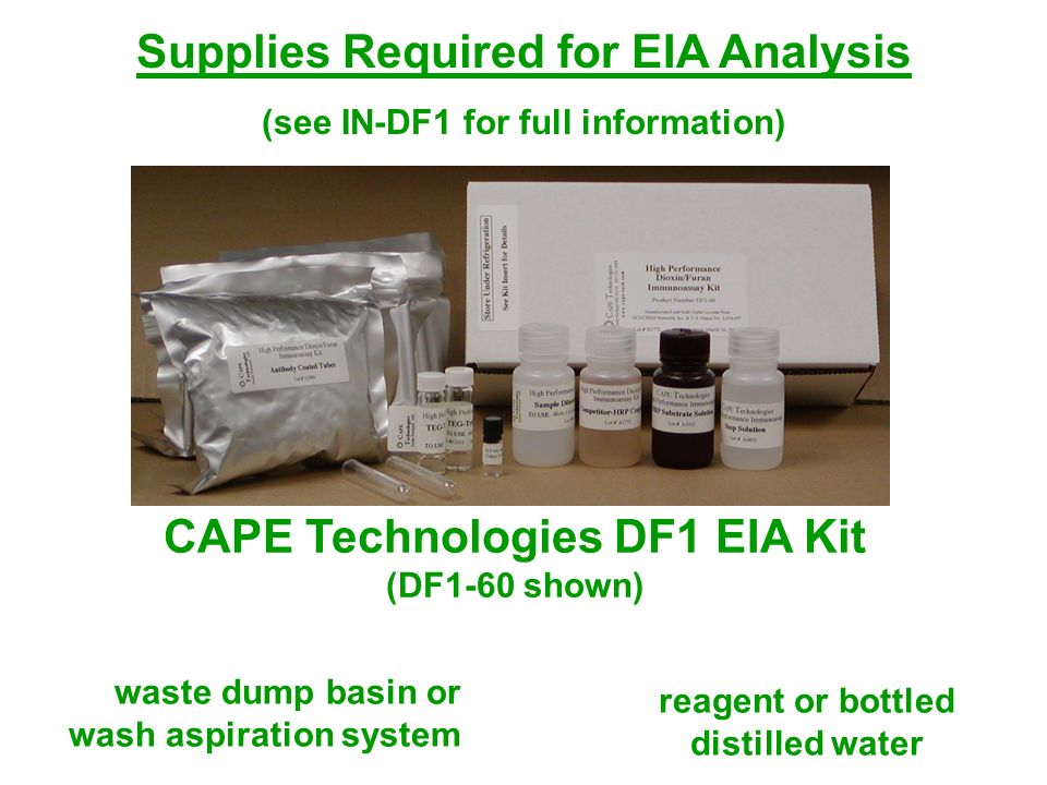 Supplies Required for EIA Analysis (see IN-DF1 for full information) CAPE Technologies DF1 EIA Kit (DF1-60 shown) reagent or bottled distilled water w