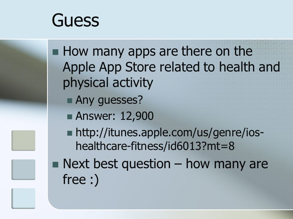 Guess How many apps are there on the Apple App Store related to health and physical activity Any guesses.