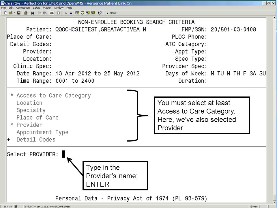 You must select at least Access to Care Category. Here, weve also selected Provider. Type in the Providers name; ENTER