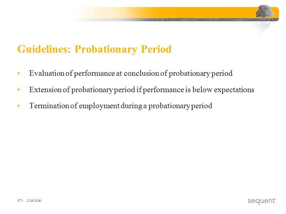1/24/2014 I 17 I Guidelines: Probationary Period Evaluation of performance at conclusion of probationary period Extension of probationary period if pe