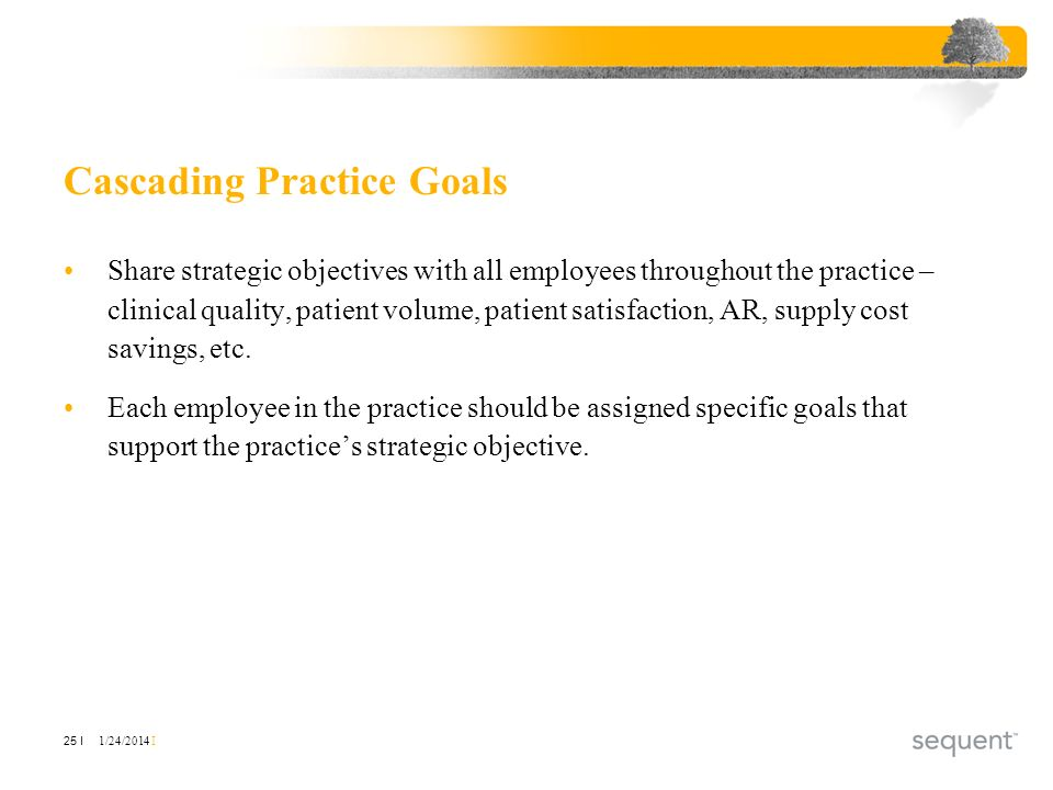 1/24/2014 I 25 I Cascading Practice Goals Share strategic objectives with all employees throughout the practice – clinical quality, patient volume, patient satisfaction, AR, supply cost savings, etc.