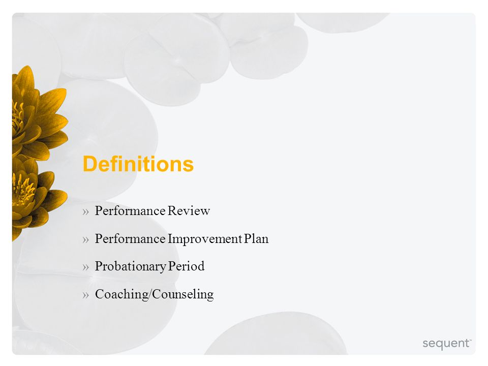 Definitions »Performance Review »Performance Improvement Plan »Probationary Period »Coaching/Counseling
