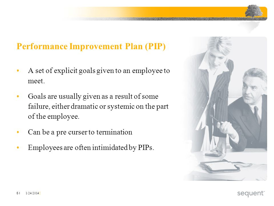 1/24/2014 I 5 I Performance Improvement Plan (PIP) A set of explicit goals given to an employee to meet. Goals are usually given as a result of some f