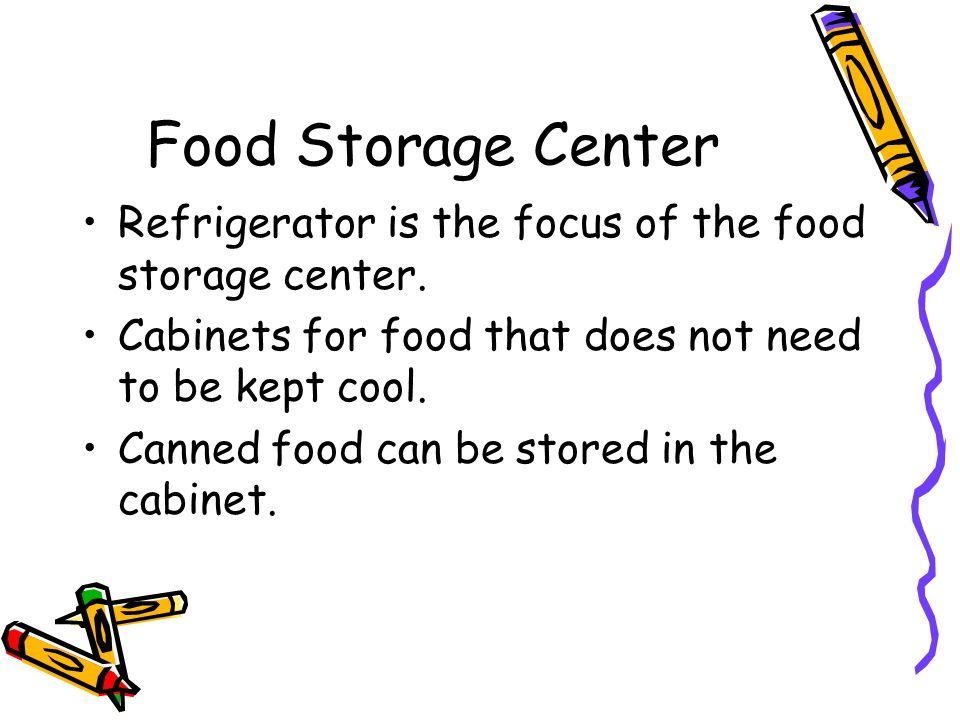 Food Storage Center Refrigerator is the focus of the food storage center.