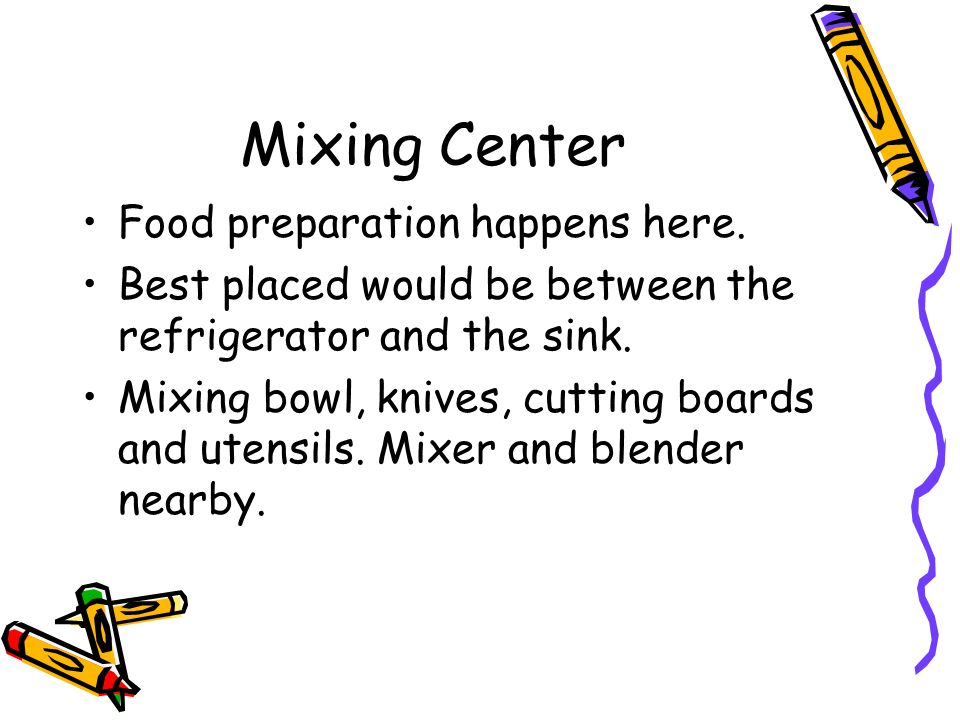 Mixing Center Food preparation happens here. Best placed would be between the refrigerator and the sink. Mixing bowl, knives, cutting boards and utens