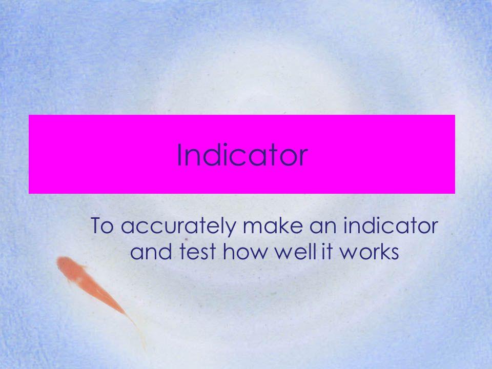INDICATORS Can you name any indicators?