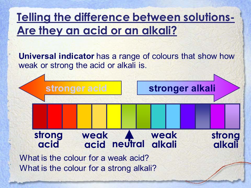 Universal indicator has a range of colours that show how weak or strong the acid or alkali is. stronger alkali stronger acid What is the colour for a