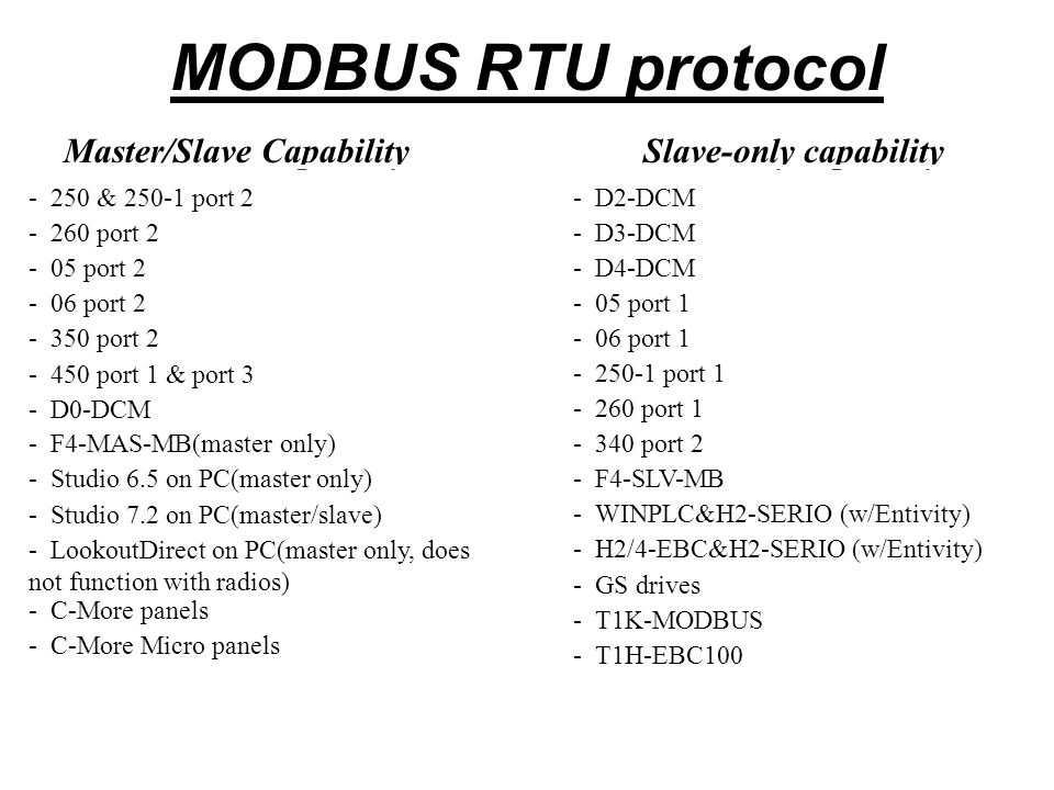 MODBUS TCP protocol * Client/Server CapabilityServer-only capability - H2-ECOM100- H2-EBC100 - GS-EDRV - Cmore (Client only) - Studio 6.5 on PC(master only) - LookoutDirect on PC(Client only) - WINPLC - H0-ECOM100 * Client/Server is the terminology typically used with Ethernet protocols.